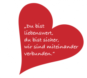 Rotes Herz mit Text: Du bist liebenswert, du bist sicher, wir sind miteinander verbunden